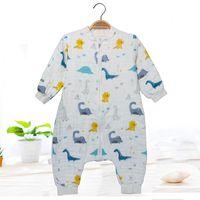 Hohe dichte Baumwolle 6 Schichten Gaze Beinschlafsack Kinder Anti-Kick kriechte Kleidung Pyjamas 3 Yards Decken Swaddling