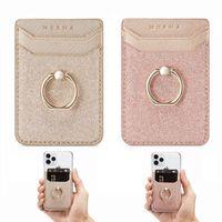 2 팩 전화 카드 홀더 RFID 신용 지갑 여성, 반짝이 샌드 스틱 - 온 다시 그립 아이폰 삼성 안드로이드