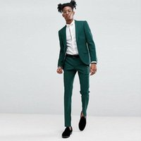 Men's Suits & Blazers Classy Green Slim Fit Mens Prom Two Pieces Shawl Lapel Wedding For Men Tuxedos Jacket And Pants