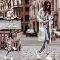 Women's Wool & Blends 2021 Autumn Shirt Jacket Fashion Plaid Print Lapel Long Coat Casual Double-Breasted Winter