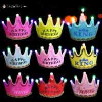 Bambini di compleanno festa Decorazione Cappelli Natale incandescente Crown Cap Baby Ordine di ornamento di un anno Forniture Data di nascita Cappello di nascita Tiktok DHL Fast BT01