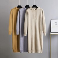 Casual Dresses Hooded Sweater Knitted Dress Women's Thickened 2021 Autumn Winter Loose Medium Length Long Skirt Over The Knee