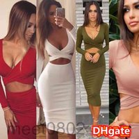 2021 spring and summer new women's dress Navel Long Sleeve Bag Hip Knee-length Party party dress A8809