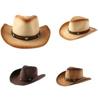 European And American Curled Straw Woven Western Era Cowboy Hat Summer Seaside Beach Sunscreen Panama Fedora Sun Wide Brim Hats