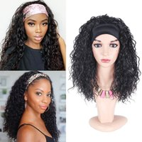 Synthetic Wigs Natifah Headband 16 Inches Water Wave Natural Fake Hair Glueless For Black Women Curly Wholesale Brown