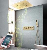 Luxury dorato lucido Big 600 * 800mm Bagno Doccia Set da bagno Massaggio Spa Rubinetti in ottone Rubinetti da bagno Accessori da bagno Cascata Funzioni