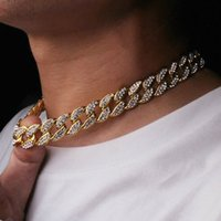Hip hop bling fashion collane gioielli mens e donne oro argento miami cubano collegamento diamante ghiacciato