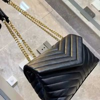 مصمم فاخر 5A حقيبة الكتف موجة نمط y- شكل التماس الجلود السيدات سلسلة معدنية رفرف crossbody حقيبة اليد مع مربع جودة عالية بالجملة