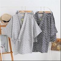 100% Cotton Gauze Womens Sleepwears Short Sleeve Shorts Pajamas Mujer Japanese Kimono Couple Pyjamas V Neck Home Men Pajama Set