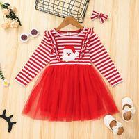 فساتين عيد الميلاد الفتيات تول سانتا كلوز سقوط 2021 أطفال بوتيك الملابس التصميم الأصلي 2-6T الأطفال مناسبة اللباس