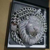 Iced Out Pendant Cuban Link Chain Big Pendants Mens Jewelry Hip Hop Luxury Designer Necklace Bling Diamond Lion Animal Rapper Dj