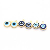 10uds Mini Resin Bracelet evil eyes Earrings charm lucky devil eyes necklace and Earrings DIY accessories manufacturing J0527
