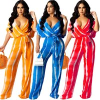 Women Fashion Two Pieces Pants Set Tie Dyed Loose V-neck Wide Leg Long Pants Short Sleeve Sexy Clothes 3 Colors The New Listing