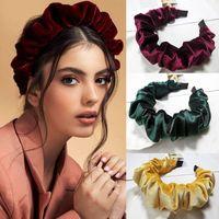 Korean velvet pure color pleated headband women's Retro accessories bubble large intestine cave