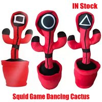 Halloween Christmas party favor Squid Game Dancing Singing Cactus Talking Doll Study Ornaments Children Imitate Voice Repeat Record Plant Plush Toy