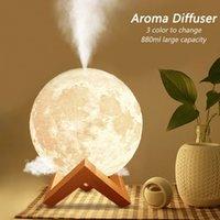 880ML USB Aroma Diffuser Ultrasonic Essential Oil Air Humidifier 3D Moon Lamp Night Light Cool Mist Purifier