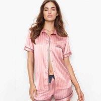 Pigiama d'estate per le donne Satin Seta a strisce Sleepwear 2 pezzi Set Sleep Top Pants PJS Ladies Night Wear Loungewear Home Suit Q0720