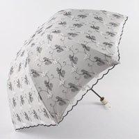 Ombrelloni moda parasole ricamo doppio strato pizzo tre pieghevole rivestimento nero anti-uv protezione solare solare ombrellone sole piovoso soleggiato