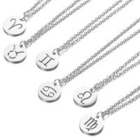 12pcs lot Stainless Steel Whole Twelve Zodiac Constellations Charms Pendant Necklaces For Women Jewelry DIY Gift