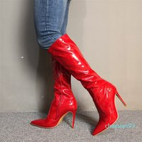 Womens Handmade Real Photos High Heel Boots Red Patent Leather Pointed-toe Knee-high Booties Evening Party Prom Fashion Winter Shoes 2021 dd
