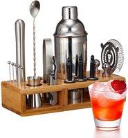 Flurff BARTENDER KIT, 19 PC Cocktail Shaker mit 25 oz Edelstahl Martini Shaker, Bambusständer und Rezepte, Perfect Tools Set für Home Bar Party Barware Werkzeugsets