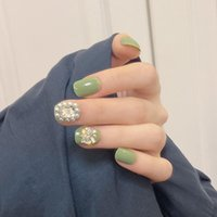 Nail Gel Fake Nails Short Green Stickers Finished 24 Pcs With Glue Comfortable And Durable