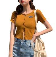 Kadın Hırka Düğmesi Ince Yuvarlak Boyun Kısa Kollu Nervürlü Parti Tatil Seyahat Dating T-shirt Için