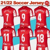 2021 2022 maillot de football de Madrid # 9 Suarez # 7 Joao Felix Home Chemises de football rouge 21/22 Hommes # 11 Lemar # 18 Felipe Sleeve Sleeve Football Uniformes de qualité supérieure en vente