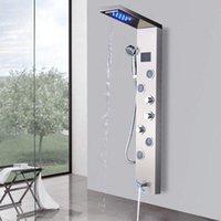 Douchepaneel kolom geborsteld nikkel / zwarte badkamer kraan led badkuip mixer Tik met handtemperatuur scherm