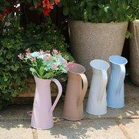 20cm Vintage Shabby Chic Flower Vase Tin Pitcher Jug Metal Wedding Home Decor Arrangement Vases