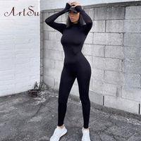 Artsu 여성 긴 소매 피트니스 Jumpsuit Bodycon 지퍼 스키니 여성 캐주얼 Bodysuit Rompers 빈티지 바지 Asju70158 U3ya #