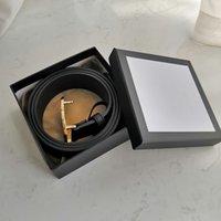 2021 패션 남성 럭셔리 벨트, 6 색 금속 버클 가죽 디자이너 벨트, 3.8cm 와이드 박스