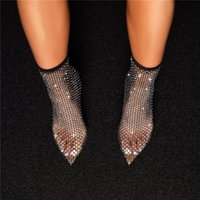 Boots 2021 Design Crystal Rhinestone Mesh Stretch Fabric Sock Fashion PVC Transparent Pointed Toe Shoes Sexy High Heels