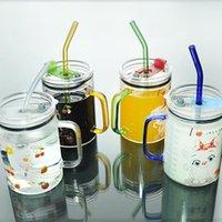 Tazas Yenhome Hildren Tazas de leche con tapa del desayuno Taza Creative Dibujos animados Gato Paja Taza de gran capacidad Agua de cristal linda 500ml