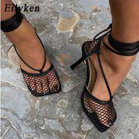 Eilyken الأزياء الجوف تنفس شبكة مربع تو الخنجر عالية الكعب النساء مضخات الكاحل الدانتيل متابعة السيدات أنيقة اللباس الأحذية 210608