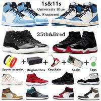 مع صندوق ترافيس سكوت air jordan 1s Jumpman 11s أحذية كرة السلة للرجال Shadow Hyper Royal 11 Twist 1 University Blue Bred Toe Concord للرجال والنساء أحذية رياضية رياضية
