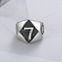 Pierścienie Osobowość Lucky Number 7 Szkielet Męska Pierścień Titanium Steel Punk Style Biżuteria