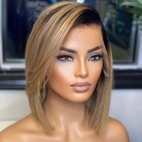 Lace Wigs Ombre Highlight Ash Blond Short Cut Bob 13x4Lace Front Wig With Baby Hair Brazilian Human Remy For Black Women Preplucked