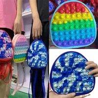 19CM Rainbow Tie Dye Fidget Backpack Popet Bubble Toys Bag Push Pop Bubbles Purses Kids Adult Sports Casual Shoulder Bags Handbag Tote Christmas Gift H93RB7N