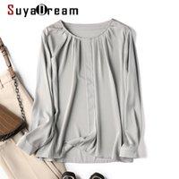 Женские блузки Рубашки SuyaDream Женщина Осень настоящий шелк Дубл Джо О шеи с длинными рукавами Сплошная повседневная блузка 2021 Вершина