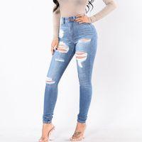 Women`s Single Knee Ripped Elasticity Dark Blue High Waisted Skinny Denim Jean Pants Women Jeans Plus Size Womans Female