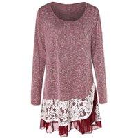 Swetry damskie plus rozmiar koronki wkładka warstwowa tunikowa dzianina
