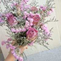 Decorative Flowers & Wreaths 30cm Rose Pink Natural Dried Bouquet 5 Big Head Lover Grass Real Fleurs For Gift Home Wedding Decoration Indoor