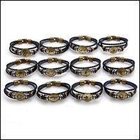 Cuff Bracelets Jewelryvintage Genuine Twee Constellation Cowe Simple Mti-Layer Retro Woven Couple Leather Bracelet Drop Delivery 2021 Jx3Rq