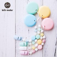 PACINOS # Let's Hacer Cadena de chupete Cadena Nipple Nipple Titular de Bebé Accesorios de silicona Mateether Beads PVC Free Macaron Clips Plástico