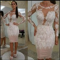 Sexy Blush Pink Plus Size Sheath Cocktail Dresses Jewel Neck Long Sleeves White Lace Appliques Knee Length Homecoming Evening Gowns Formal Dress