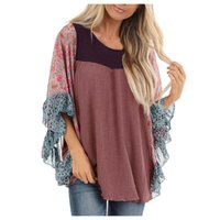 Women's Blouses & Shirts Woman Casual Loose Blouse Ethnic Style Printed Long-sleeved O-neck Streetwear Ladies 25#