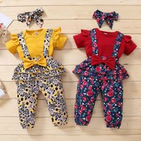 Clothing Sets Summer Baby Girl Clothes Set Born 0 3 Months Yellow Red Short Sleeve Romper Suspender Bow Floral Pants