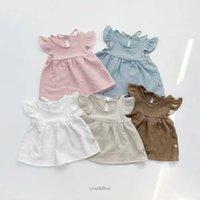 2021 summer new Korean baby children's wear lovely sweet flying sleeve girl baby candy color short sleeve set summer