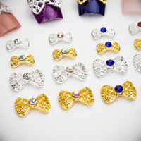 Nail Art Decorations 120Pcs Metal Bow Shape Jewelry Pendant Hollow Bowtie Charms Alloy Crystal Rhinestones Strass For Manicure Tips